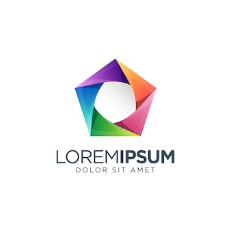 Zeshoek kleurrijk logo ontwerp