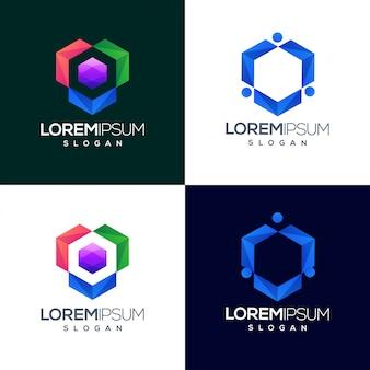 Zeshoek kleurrijk verloop logo ontwerp