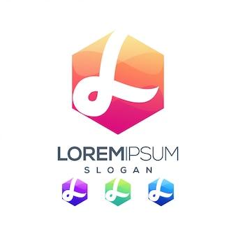 Zeshoek l inspiratie kleurverloop logo ontwerp