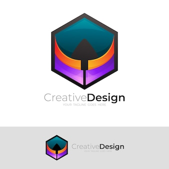 Zeshoek logo met pijl ontwerp vector, eenvoudige pictogram vector
