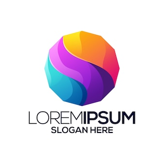 Zeshoek logo ontwerp verloop