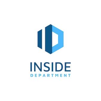 Zeshoek met initialen i en d-logo ontwerp