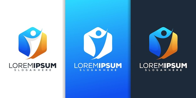 Zeshoek met menselijk logo-ontwerp