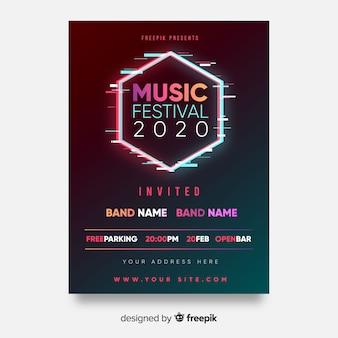 Zeshoek muziekfestivalaffiche