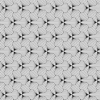 Zeshoek patroon naadloze bloemen zwart en wit