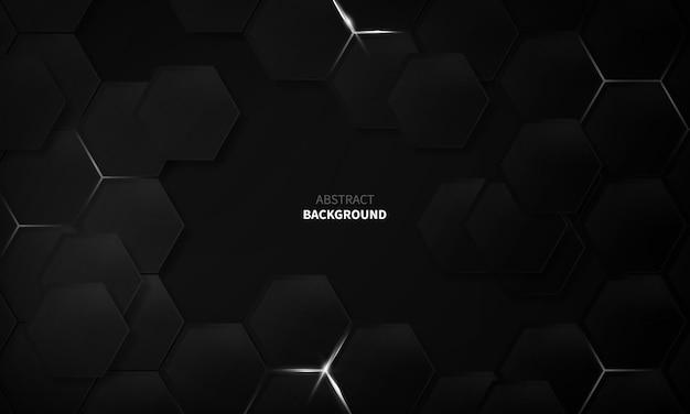 Zeshoek zwart concept ontwerp abstracte technische achtergrond