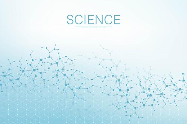 Zeshoeken abstracte achtergrond met geometrische deeltjes vormen. wetenschap, technologie en medisch concept. grafische futuristische achtergrond golfstroom hex voor uw ontwerp.
