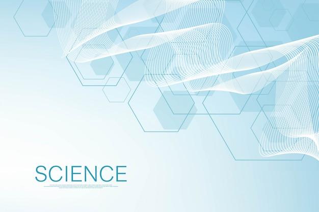 Zeshoeken abstracte achtergrond met geometrische vormen. wetenschap, technologie en medisch concept. futuristische achtergrond in wetenschappelijke stijl. grafische hex achtergrond voor uw ontwerp. illustratie