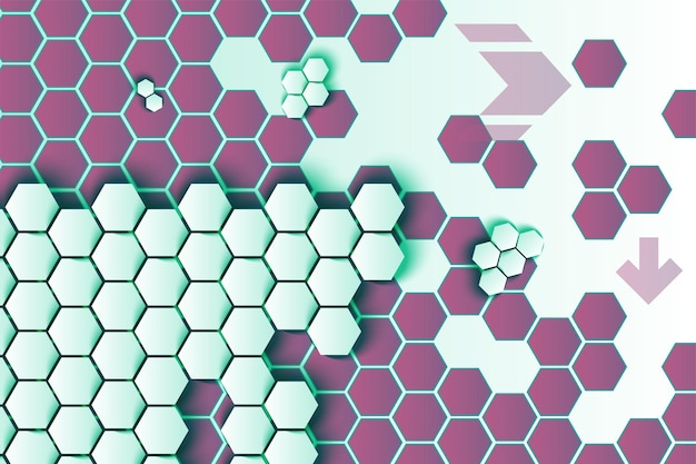Zeshoeken en pijlen vector achtergrond. 3d-witte honingraattextuur op paarse zeshoekige achtergrond