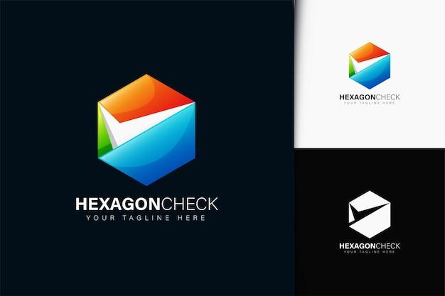 Zeshoekig geruit logo-ontwerp met verloop