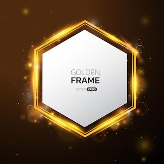 Zeshoekig gouden frame met lichteffect.