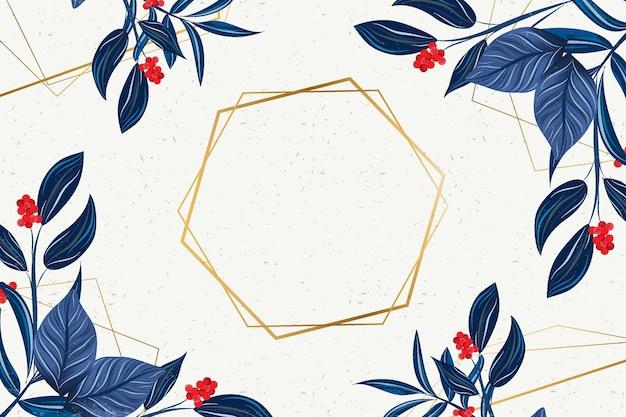 Zeshoekig gouden frame met winterbloemen