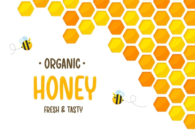 Zeshoekig goudgeel honingraatpapier gesneden met bijen en zoete honing erin.