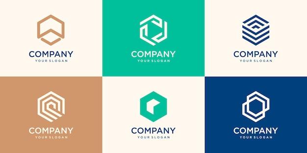 Zeshoekig logo-ontwerp met streepconcept, modern bedrijfslogo-sjabloon