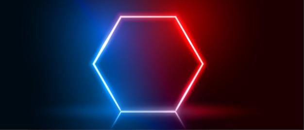 Zeshoekig neon frame in blauwe en rode kleur