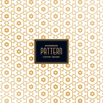 Zeshoekig stijl gouden wit patroon achtergrondontwerp