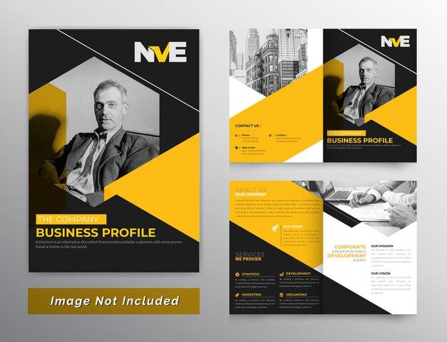 Zeshoekig tweevoudig brochureontwerp met oranje kleur