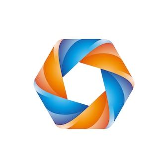 Zeshoekige basis kleurrijk modern logo