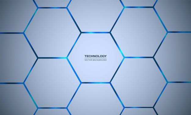 Zeshoekige blauwe abstracte achtergrond. licht honingraat structuur rooster.