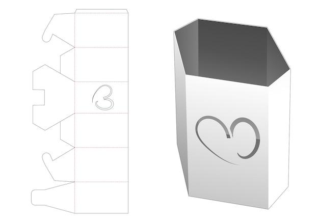 Zeshoekige briefpapier doos met hartvormig venster gestanst sjabloon
