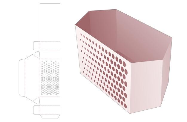 Zeshoekige container met gesjabloneerde halftoonstippen gestanst sjabloon