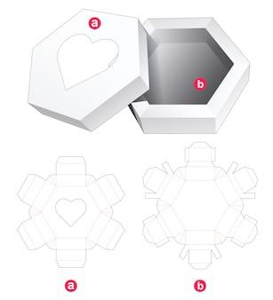 Zeshoekige doos en deksel met hartvenster gestanst sjabloon