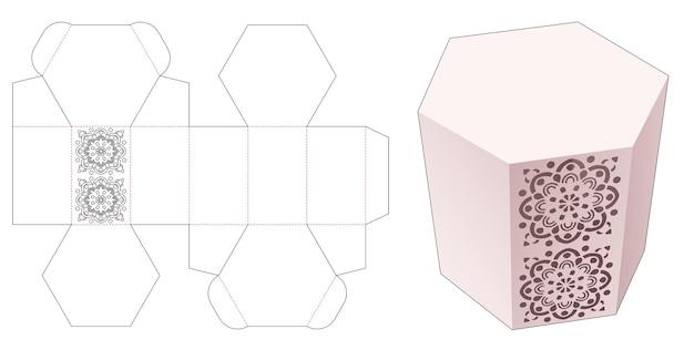 Zeshoekige doos en gestencilde mandala gestanst sjabloon