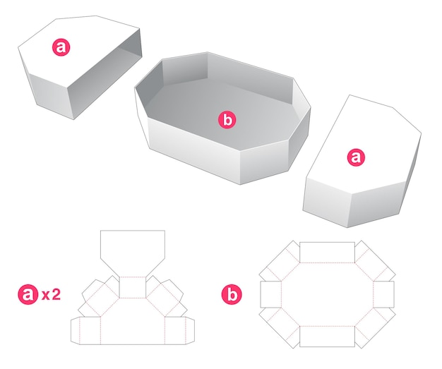 Zeshoekige doos met gestanste sjabloon voor 2 deksels