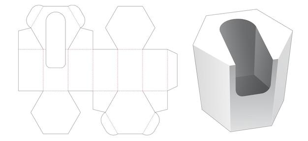 Zeshoekige doos met gestanste sjabloon voor productweergave in de open lucht