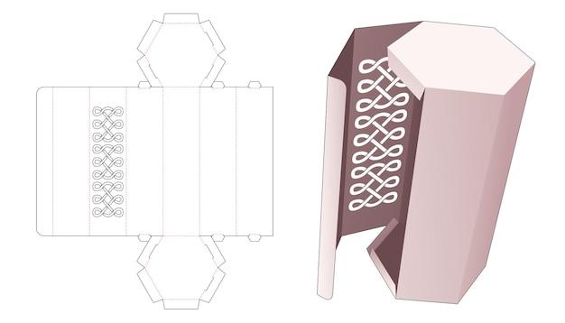 Zeshoekige doos met gestencilde gestanste lijnsjabloon