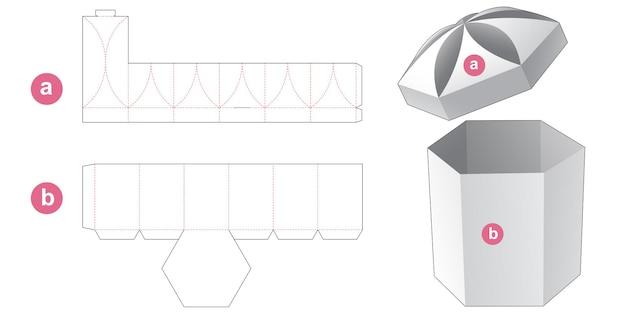 Zeshoekige doos met koepelvormig deksel gestanst sjabloon