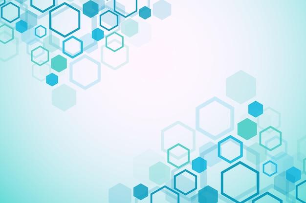 Zeshoekige geometrische achtergrond. hexagons genetisch en sociaal netwerk. toekomstige geometrische sjabloon. zakelijke presentatie voor uw ontwerp en tekst. minimaal grafisch concept. vector illustratie.