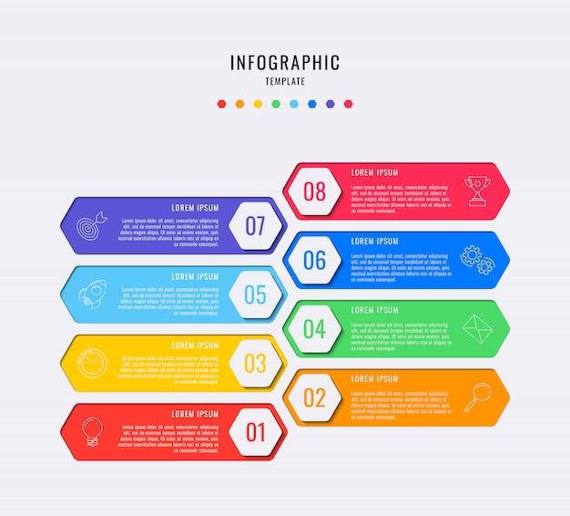 Zeshoekige infographic elementen met acht stappen, opties, onderdelen of processen met tekstvakken en marketinglijnpictogrammen.