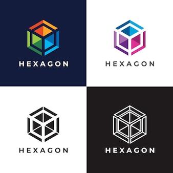 Zeshoekige kleuren logo sjabloon