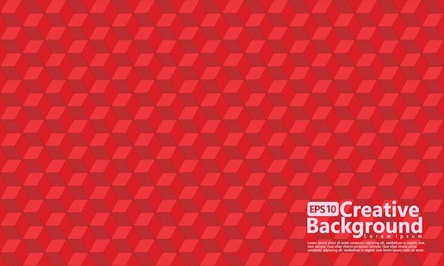 Zeshoekige kubus vormen geometrische, rode kleur.