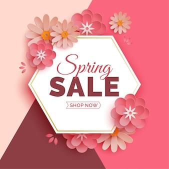 Zeshoekige lente verkoop banner met papieren bloemen