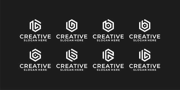 Zeshoekige logo-set