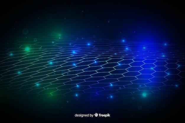 Zeshoekige netto futuristische achtergrond