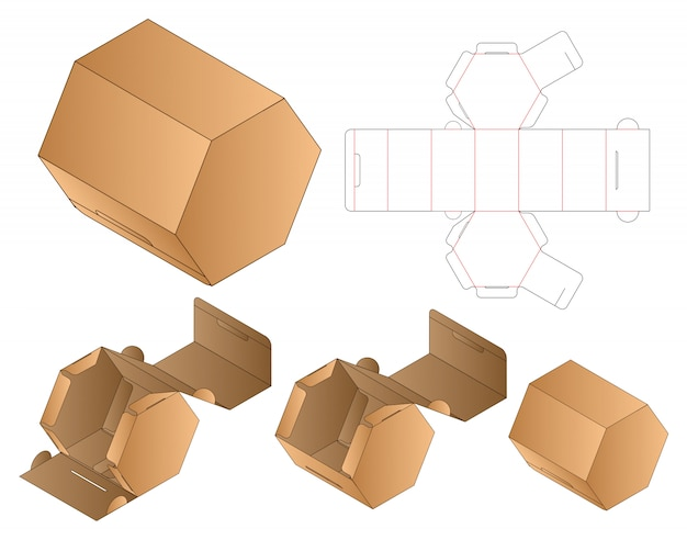 Zeshoekige papieren zak verpakking diecut-sjabloon