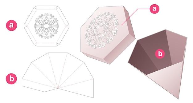 Zeshoekige pyloon doos en deksel met gestencilde mandala gestanste sjabloon