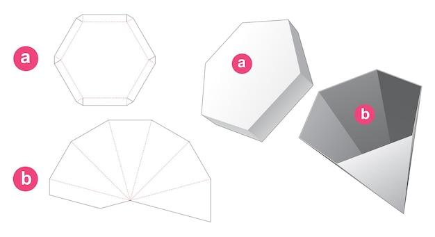 Zeshoekige pyloonvormige doos en deksel gestanst sjabloon