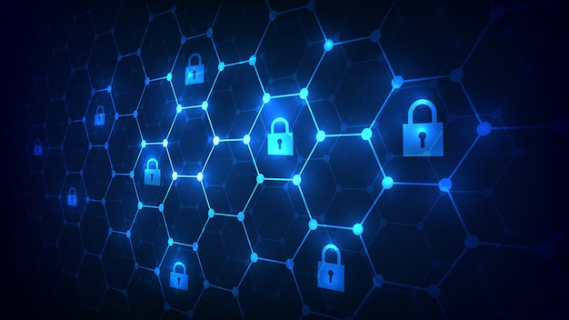 Zeshoekige raster achtergrond met hangsloten pictogram. beveiliging en blockchain netwerkconcept