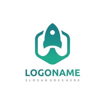 Zeshoekige rocket-logo