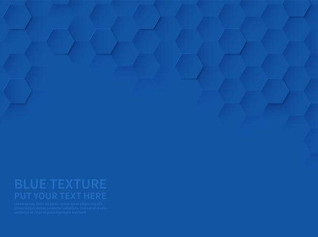 Zeshoekige textuur. oceaan blauwe honingraat 3d geometrische patroon, abstracte tech wetenschap modern papier gesneden vector website behang sjabloon achtergrond