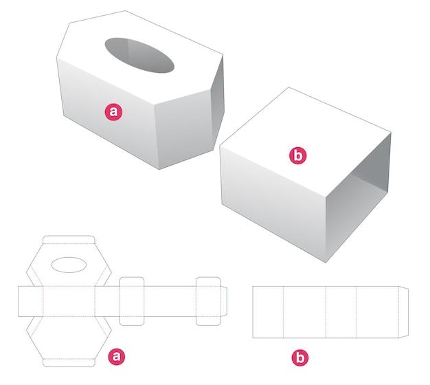 Zeshoekige tissuedoos en omslag gestanst sjabloon