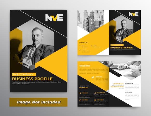 Zeshoekige tweevoudige brochure met oranje kleur