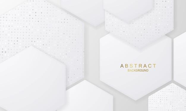 Zeshoekige vorm abstract grijs witte achtergrond poster met dynamische golven. technologie netwerk illustratie.