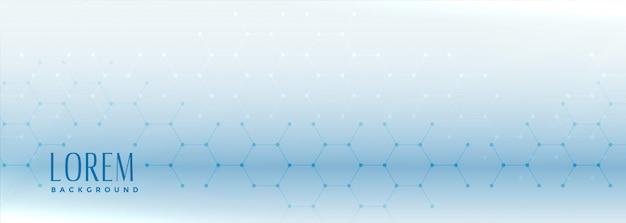 Zeshoekige vorm blauwe brede banner