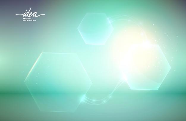 Zeshoekige vormen idee abstracte poster met zeshoeken van verschillende grootte die op de green zijn verdeeld
