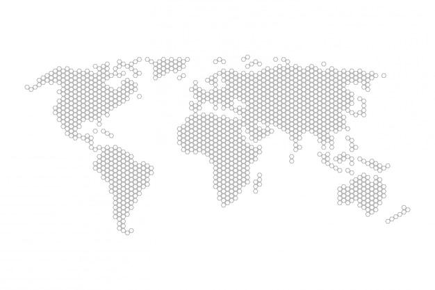 Zeshoekige wereldkaart